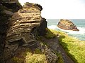 Boscastle, rock strata on Penally Point - geograph.org.uk - 1466300.jpg