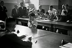 Boy in front of the tribunal of the Juvenile Court, Albergo dei Poveri reformatory, Naples 1948.jpg