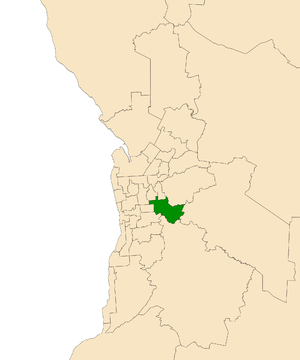 Electoral district of Bragg - Electoral district of Bragg (green) in the Greater Adelaide area