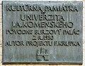 Bratislava tabula na budove Právnickej fakulty UK.jpg