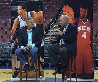 Brett Brown - Brett Brown is interviewed at a 76ers fan meet and greet in 2014