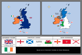 Devolution in the United Kingdom - The United Kingdom, the Crown Dependencies and the Republic of Ireland. (click to enlarge)