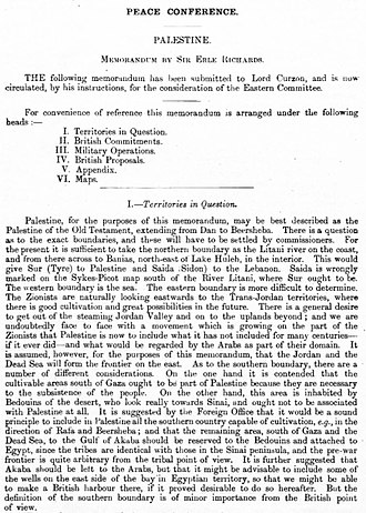 Mandate for Palestine - January 1919 Foreign Office memorandum setting out the borders of Palestine, for the Eastern Committee of the British War Cabinet, ahead of the Paris Peace Conference.