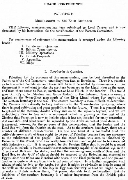 British memorandum on Palestine ahead of the Peace Conference British Memorandum on Palestine 1919.jpg