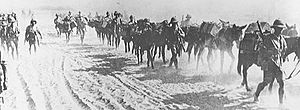Battle of Dujaila - British infantry advancing through Mesopotamia near the Tigris river in 1916