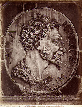 Huns - A nineteenth century depiction of Attila. Certosa di Pavia – Medallion at the base of the facade. The Latin inscription tells that this is Attila, the scourge of God.