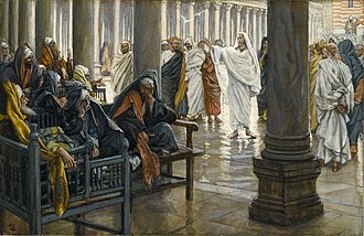 """Christianity and fringed garments - Jesus condemning hypocrisy among Pharisees, which could manifest itself in wearing long tassels. James Tissot's painting """"Woe unto You, Scribes and Pharisees."""""""