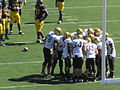 Buffaloes in huddle at Colorado at Cal 2010-09-11 3.JPG