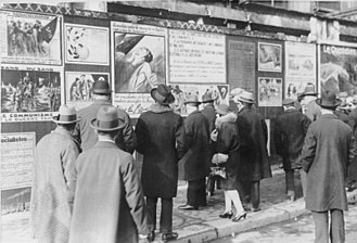 French legislative election, 1928 - Campaign posters in the streets of Paris, 1928.