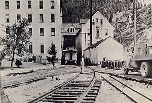 Burke, Idaho - The Tiger Hotel, a 150-room hotel with the railway running through the main lobby.