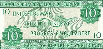 Burundian franc - Image: Burundi 10Franc Back