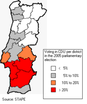 CDU results in the parliamentary election of 2005. (Azores and Madeira are not shown)