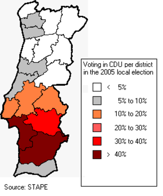 Unitary Democratic Coalition - CDU results in the local election of 2005. (Azores and Madeira are not shown)