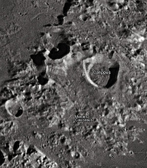 "Calippus (crater) - Calippus crater and its satellite craters taken from Earth in 2012 at the University of Hertfordshire's Bayfordbury Observatory with the telescopes Meade LX200 14"" and Lumenera Skynyx 2-1"