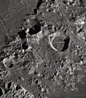 """Calippus (crater) - Calippus crater and its satellite craters taken from Earth in 2012 at the University of Hertfordshire's Bayfordbury Observatory with the telescopes Meade LX200 14"""" and Lumenera Skynyx 2-1"""