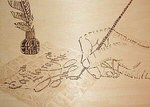 Calligramme pyrogravé