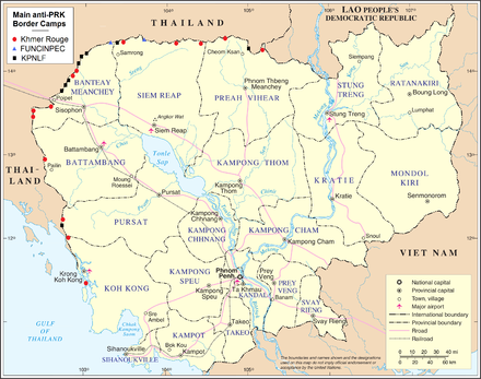 Border camps hostile to the PRK; 1979-1984. KPNLF camps shown in black. Cambodia anti-PRK border camps.png