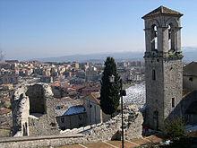 Veduta di Campobasso, in particolare il campanile della Chiesa di San Bartolomeo