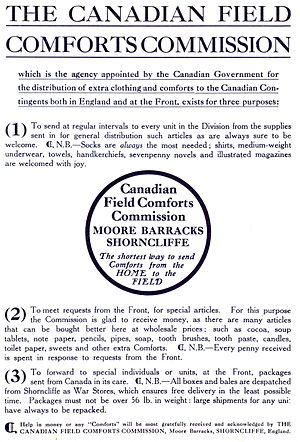 "1st Canadian Division - Canadian field comforts commission insert found in ""With the First Canadian Contingent"", Canadian Government publication from 1915."