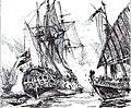 Captain Keigwin in the Revenge, beating off Sevagee's fleet.jpg