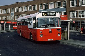 "National Bus Company (UK) - National Welsh Omnibus Services Leyland Leopard at Cardiff Central bus station in the poppy red and white ""dual purpose"" version of the NBC corporate livery in June 1980"