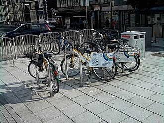 Cycling in Cardiff - 2009 scheme cycle hire station on Queen Street/Churchill Way