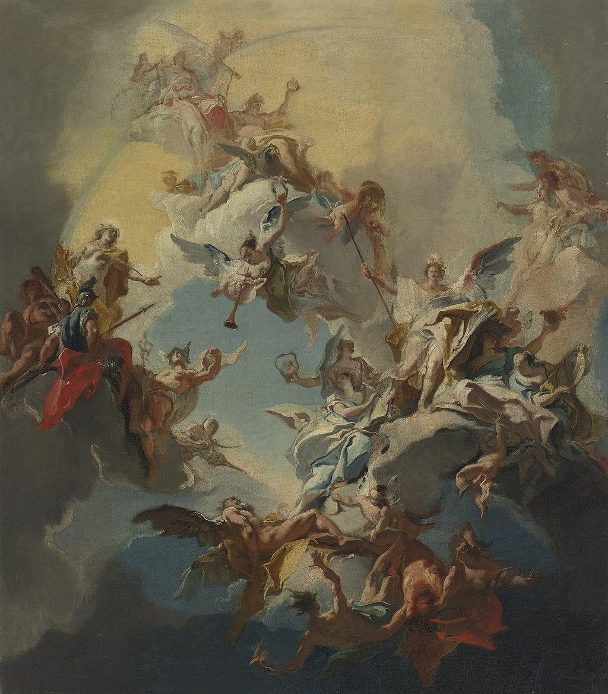 Carlo Innocenzo Carlone The Triumph of Reason- a Bozzetto For a Ceiling
