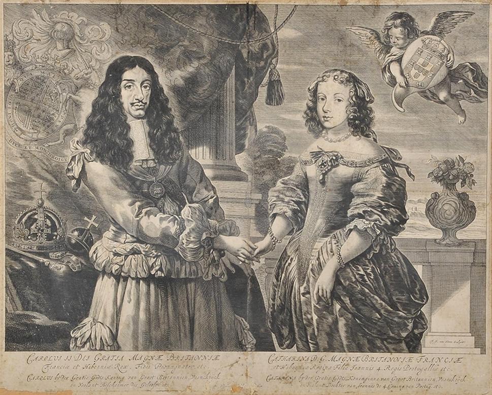 Carlos II de Inglaterra e Dona Catarina de Bragan%C3%A7a (gravura holandesa, 3.%C2%BA quartel do s%C3%A9culo XVII)