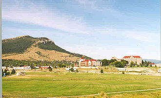Carroll College (Montana) - The Carroll College campus (right), viewed from the northeast, with Mount Helena in the left background
