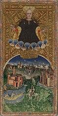 Tarocchi Visconti di Modrone, a sinistra Il Mondo, a destra Il Giudizio