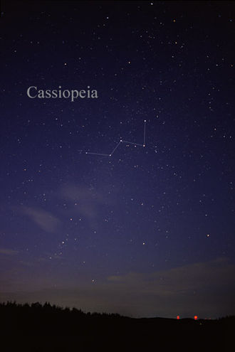 Cassiopeia (constellation) - The constellation Cassiopeia as it can be seen by the naked eye from a northern location