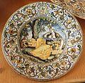 Castelli, piatto, 1650-1700 ca. fruttivendola e scimmia.jpg