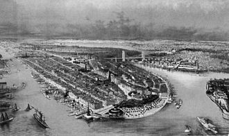 Castle Clinton - Aerial view illustration of Manhattan, showing Castle Garden at its tip, ca. 1880