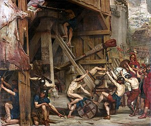 Siege of Jerusalem (AD 70) - Catapulta, by Edward Poynter (1868). Siege engines such as this were employed by the Roman army during the siege.