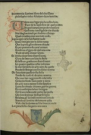 Cecco d'Ascoli - Incipit of Acerba, 1484