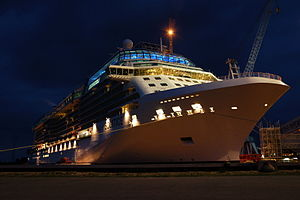 Celebrity Solstice at night
