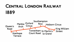 Route diagram showing the railway running from Queen's Road at left to King William Street at right