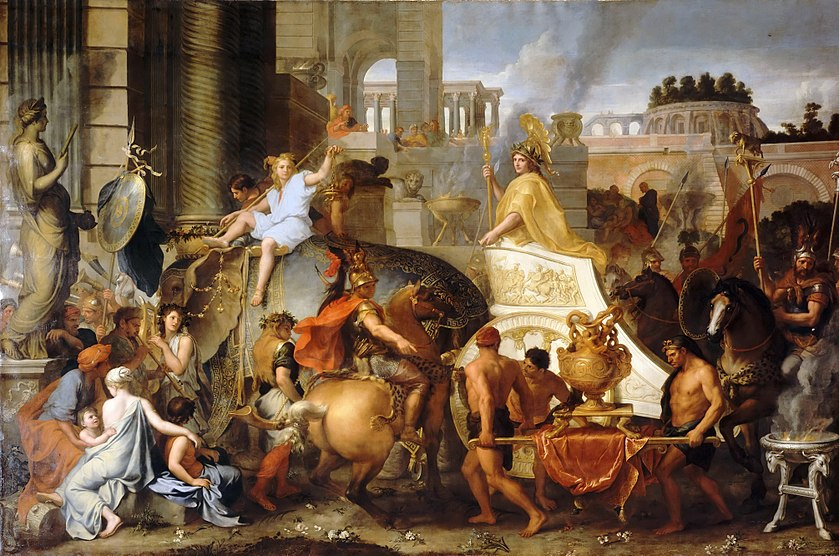 """Entry of Alexander into Babylon"", a 1665 painting by Charles LeBrun, depicts Alexander the Great's uncontested entry into the city of Babylon, envisioned with pre-existing Hellenistic architecture. Charles Le Brun - Entry of Alexander into Babylon.JPG"