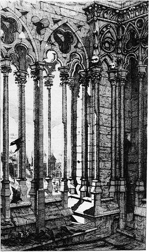 Charles Méryon - La Galerie de Nôtre-Dame in Paris (1853), 274 × 161 mm
