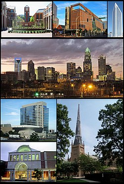Clockwise: UNC Charlotte, Harvey B. Gantt Center for African-American Arts + Culture, Duke Energy Center, Charlotte's skyline, First Presbyterian Church of Charlotte, Charlotte Main Library, and NASCAR Hall of Fame building