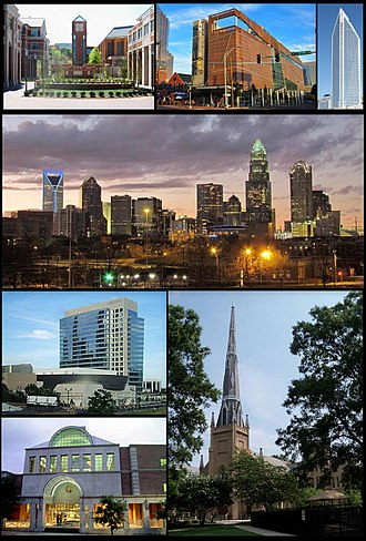 Charlotte, North Carolina - Clockwise: UNC Charlotte, Harvey B. Gantt Center for African-American Arts + Culture, Duke Energy Center, Charlotte's skyline, First Presbyterian Church of Charlotte, Charlotte Main Library and NASCAR Hall of Fame building