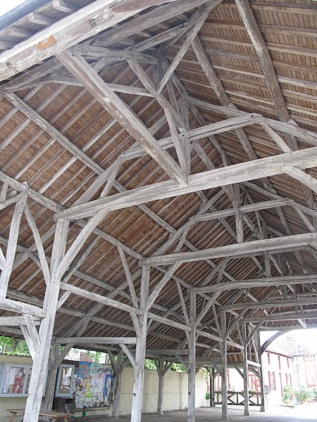 Carpentry of the market hall of Lesmont (Aube, France).