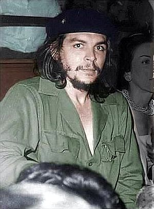 Che Guevara in his trademark olive-green milit...