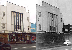 Earlwood, New South Wales - Earlwood Wines (left, 2000s) and Chelsea Theatre (right, 1950s)
