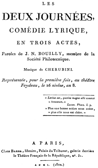 File:Cherubini - Les deux journées - title page of the libretto, Paris 1802.png (Source: Wikimedia)