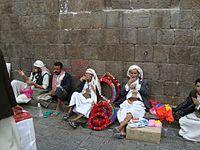 Chewing qat in Yemen.jpg