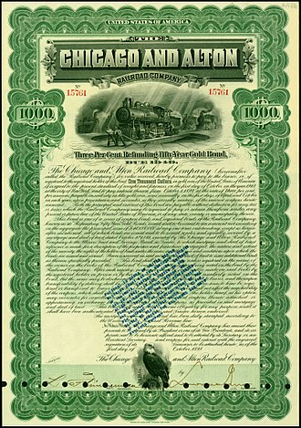Alton Railroad - Gold Bond of the Chicago and Alton Railroad Company, issued 1. October 1899