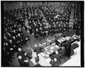 Chief Justice Hughes addressing the Joint Congressional Session on 150th Anniversary of the Congress. Seated before Hughes are Cabinet members & part of (the) Supreme Court. Left to rt. LCCN2016875156.tif