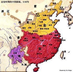 红色部分为南宋最大疆域