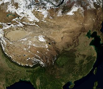 Outline of China - An enlargeable satellite image of People's Republic of China